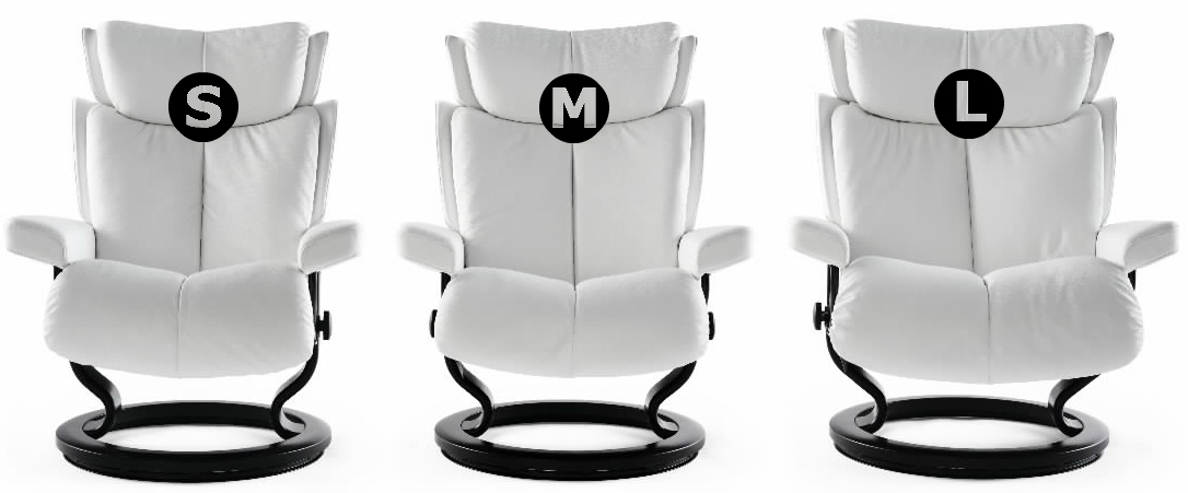Stressless multiple size recliner options